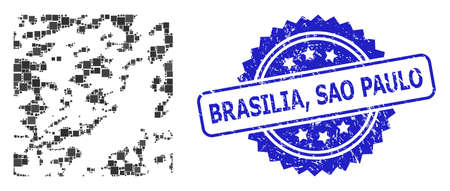 Vector mosaic destructed, and Brasilia, Sao Paulo textured rosette seal. Blue seal includes Brasilia, Sao Paulo title inside rosette. Square spots are organized into abstract mosaic destructed icon.