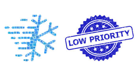 Vector mosaic frost snowflake, and Low Priority dirty rosette stamp seal. Blue stamp seal has Low Priority tag inside rosette. Square dots are composed into abstract collage frost snowflake icon. Vector Illustration
