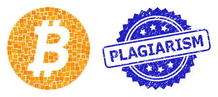 Vector mosaic bitcoin coin, and Plagiarism textured rosette stamp seal. Blue stamp seal has Plagiarism title inside rosette. Square spots are composed into abstract collage bitcoin coin icon.