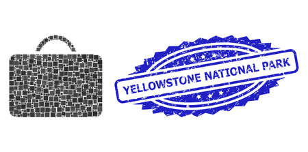 Vector collage case, and Yellowstone National Park grunge rosette seal imitation. Blue seal has Yellowstone National Park text inside rosette. Square dots are united into abstract collage case icon.