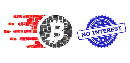 Vector mosaic bitcoin coin, and No Interest rubber rosette seal imitation. Blue seal includes No Interest caption inside rosette.