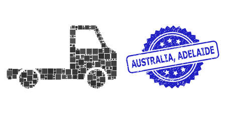 Vector collage delivery car chassi, and Australia, Adelaide dirty rosette seal print. Blue stamp seal has Australia, Adelaide title inside rosette. Illustration