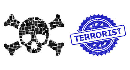 Vector mosaic death skull, and Terrorist textured rosette seal imitation. Blue stamp seal includes Terrorist text inside rosette. Square spots are united into abstract composition death skull icon.