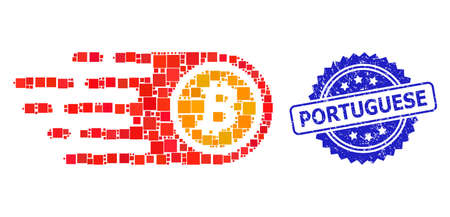 Vector mosaic bitcoin, and Portuguese textured rosette stamp seal. Blue stamp seal contains Portuguese text inside rosette. Square spots are organized into abstract composition bitcoin icon.