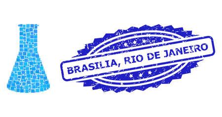 Vector mosaic chemical retort, and Brasilia, Rio De Janeiro grunge rosette stamp. Blue stamp seal contains Brasilia, Rio De Janeiro tag inside rosette.