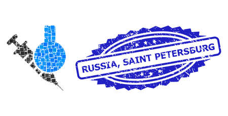Vector collage chemical vaccine, and Russia, Saint Petersburg corroded rosette seal imitation. Blue stamp seal includes Russia, Saint Petersburg title inside rosette.