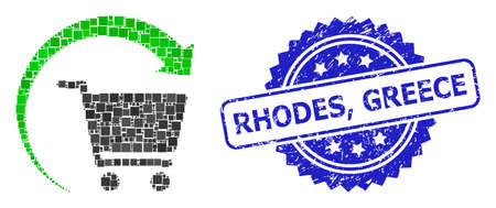 Vector mosaic repeat shopping order, and Rhodes, Greece scratched rosette stamp seal. Blue stamp has Rhodes, Greece title inside rosette.