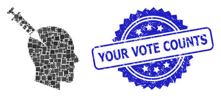 Vector mosaic head injection, and Your Vote Counts textured rosette seal print. Blue stamp seal includes Your Vote Counts text inside rosette.