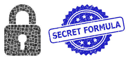 Vector collage lock, and Secret Formula textured rosette stamp seal. Blue stamp has Secret Formula text inside rosette. Square elements are combined into abstract collage lock icon.