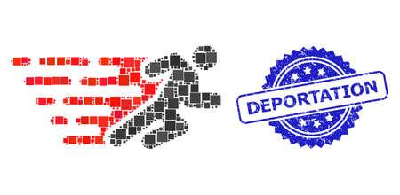 Vector collage running man, and Deportation textured rosette stamp seal. Blue stamp seal includes Deportation caption inside rosette.