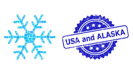 Vector collage snowflake, and USA and Alaska corroded rosette seal. Blue seal has USA and Alaska caption inside rosette. Square dots are united into abstract collage snowflake icon. 向量圖像