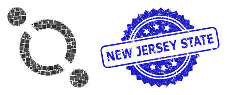 Vector collage link, and New Jersey State grunge rosette stamp seal. Blue stamp seal has New Jersey State caption inside rosette. Square items are united into abstract mosaic link icon.