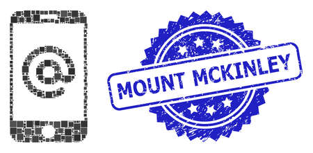 Vector mosaic smartphone address, and Mount Mckinley unclean rosette stamp seal. Blue stamp seal has Mount Mckinley title inside rosette.
