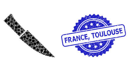 Vector collage knife, and France, Toulouse dirty rosette stamp. Blue stamp seal has France, Toulouse tag inside rosette. Square parts are arranged into abstract collage knife icon. Ilustración de vector