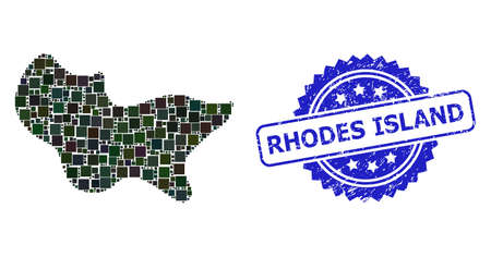 Vector mosaic spot, and Rhodes Island grunge rosette seal imitation. Blue stamp seal has Rhodes Island tag inside rosette. Square spots are combined into abstract mosaic spot icon.