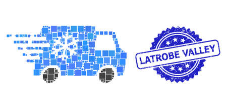 Vector mosaic refrigerator car, and Latrobe Valley unclean rosette stamp seal. Blue seal contains Latrobe Valley title inside rosette.