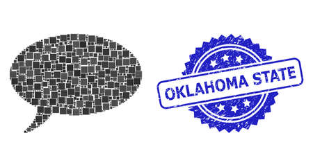 Vector collage message cloud, and Oklahoma State unclean rosette seal imitation. Blue seal includes Oklahoma State title inside rosette.