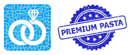 Vector mosaic jewelry wedding rings, and Premium Pasta rubber rosette stamp seal. Blue stamp seal has Premium Pasta caption inside rosette.