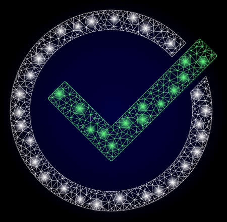 Glowing mesh polygonal accept tick with glowing spots. Illuminated vector constellation created from accept tick icon. Dark blue gradient background. Sparkle frame mesh polygonal accept tick.
