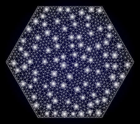 Glowing mesh polygonal filled hexagon with light spots. Illuminated vector constellation created from filled hexagon icon. Dark blue gradient background. Sparkle carcass mesh polygonal filled hexagon. 矢量图像
