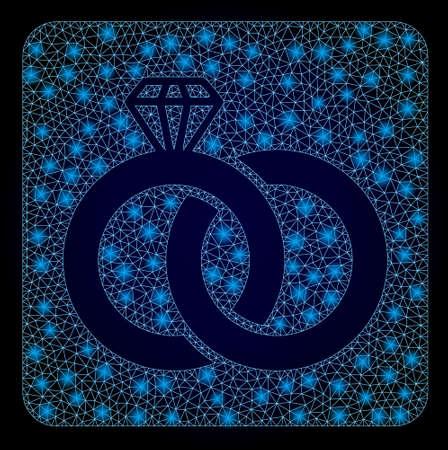 Shiny mesh polygonal diamond wedding rings with lightspots. Illuminated vector model created from diamond wedding rings icon. Dark blue gradiented background.