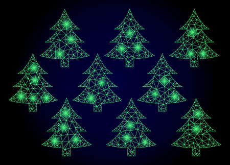 Glowing mesh net fir forest with glowing spots. Illuminated vector constellation created from fir forest icon. Dark blue gradiented background. Sparkle frame mesh polygonal fir forest.