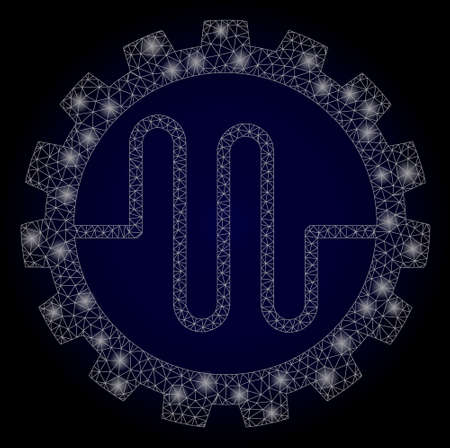 Shiny mesh polygonal pipe service cog with light spots. Illuminated vector constellation created from pipe service cog icon. Dark blue gradiented background.