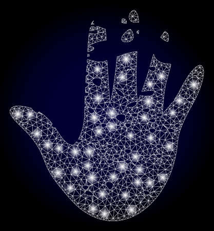 Shiny mesh polygonal destructed hand with light spots. Illuminated vector constellation created from destructed hand icon. Dark blue gradiented background.  イラスト・ベクター素材