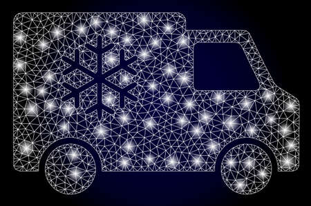 Glowing mesh web refrigerator car with glowing spots. Illuminated vector model created from refrigerator car icon. Dark blue gradiented background. Sparkle carcass mesh polygonal refrigerator car. 矢量图像