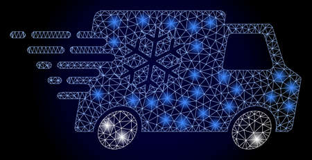 Shiny mesh network refrigerator car with light spots. Illuminated vector model created from refrigerator car icon. Dark blue gradient background. Sparkle carcass mesh polygonal refrigerator car. 矢量图像