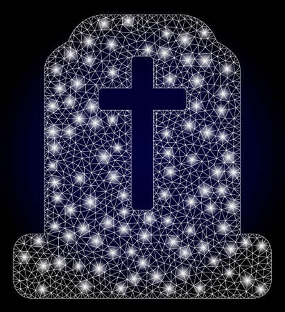 Glowing mesh network cemetery with glowing spots. Illuminated vector constellation created from cemetery icon. Dark blue gradiented background. Sparkle carcass mesh polygonal cemetery.