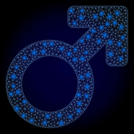 Shiny mesh polygonal male symbol with light spots. Illuminated vector model created from male symbol icon. Dark blue gradiented background. Sparkle frame mesh polygonal male symbol. 向量圖像