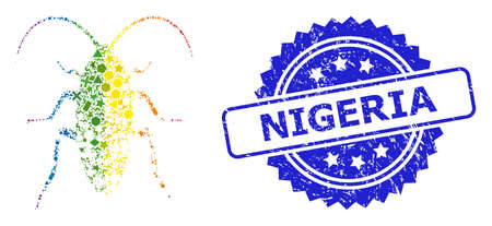 Bright colored vector damaged cockroach mosaic for LGBT, and Nigeria textured rosette stamp seal. Blue stamp seal contains Nigeria title inside rosette.