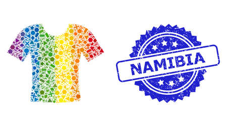 Spectrum colorful vector dirty t-shirt mosaic for LGBT, and Namibia dirty rosette stamp. Blue stamp seal contains Namibia caption inside rosette.