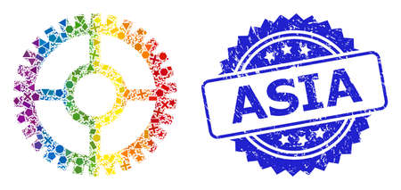 Spectrum colorful vector clock cog collage for LGBT, and Asia unclean rosette stamp seal. Blue stamp seal includes Asia text inside rosette.