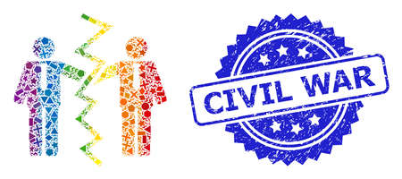 Bright colorful vector businessmen divorce collage for LGBT, and Civil War unclean rosette seal. Blue stamp seal contains Civil War text inside rosette.