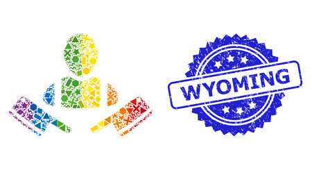 Rainbow colorful vector butcher man mosaic for LGBT, and Wyoming textured rosette stamp seal. Blue seal contains Wyoming tag inside rosette.