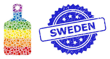 Bright colorful vector cutting board collage for LGBT, and Sweden grunge rosette seal print. Blue stamp seal contains Sweden text inside rosette.