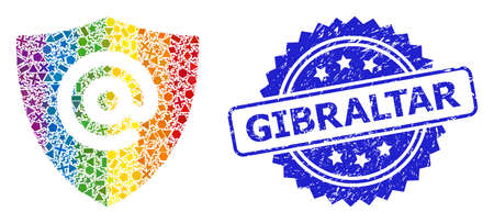 Bright colored vector email address shield mosaic for LGBT, and Gibraltar rubber rosette stamp seal. Blue stamp seal has Gibraltar title inside rosette.