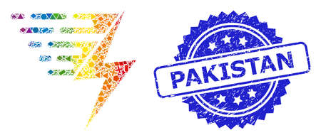 Bright vibrant vector electric power mosaic for LGBT, and Pakistan scratched rosette seal imitation. Blue stamp seal includes Pakistan caption inside rosette. Ilustração