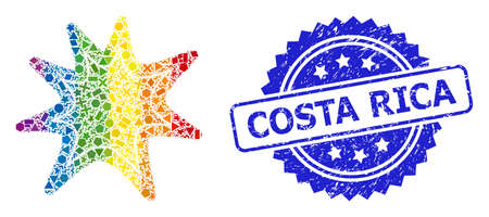 Bright colored vector exploding boom collage for LGBT, and Costa Rica unclean rosette seal imitation. Blue stamp seal includes Costa Rica caption inside rosette.