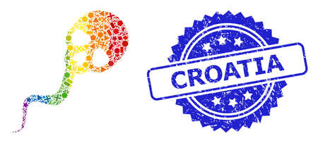 Rainbow vibrant vector dead sperm collage for LGBT, and Croatia unclean rosette stamp seal. Blue stamp has Croatia text inside rosette.