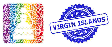 Bright colored vector bride mosaic for LGBT, and Virgin Islands textured rosette seal. Blue stamp seal has Virgin Islands text inside rosette.