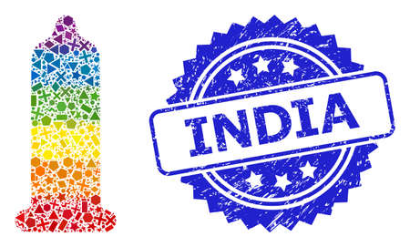 Rainbow vibrant vector condom mosaic for LGBT, and India rubber rosette stamp seal. Blue stamp has India caption inside rosette.
