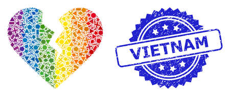 Rainbow vibrant vector divorce heart mosaic for LGBT, and Vietnam rubber rosette seal. Blue seal includes Vietnam tag inside rosette.
