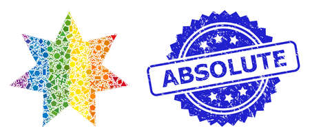 Rainbow colorful vector eight corner star mosaic for LGBT, and Absolute rubber rosette stamp seal. Blue stamp has Absolute text inside rosette.