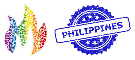Spectrum vibrant vector fire collage for LGBT, and Philippines corroded rosette seal imitation. Blue stamp seal includes Philippines text inside rosette.