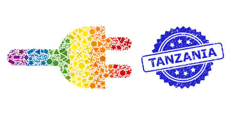 Rainbow colorful vector electric plug collage for LGBT, and Tanzania dirty rosette stamp seal. Blue stamp contains Tanzania title inside rosette. Ilustração
