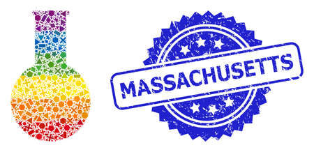 Spectrum vibrant vector chemical flask collage for LGBT, and Massachusetts rubber rosette stamp. Blue stamp seal includes Massachusetts tag inside rosette.