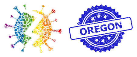 Spectrum colorful vector broken virus collage for LGBT, and Oregon dirty rosette seal imitation. Blue stamp seal contains Oregon tag inside rosette.  イラスト・ベクター素材